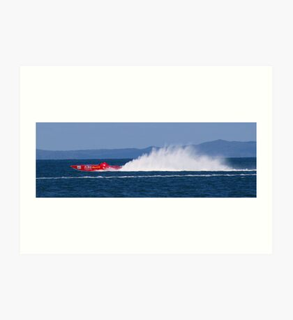 red speed boat Art Print