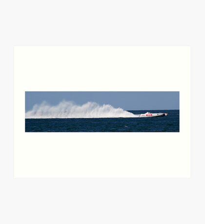 white speed boat Art Print
