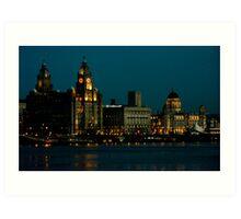 Liverpool Waterfront at Night Art Print