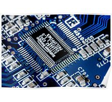 HDR - Blue Board Chips and Glowing Traces Poster