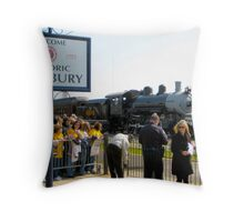 Train Arrival At Station Throw Pillow