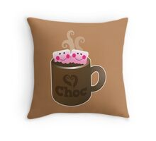 cute hot chocolate with marshmallows Throw Pillow