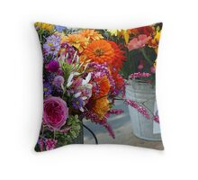 Bucket Bouquets Throw Pillow