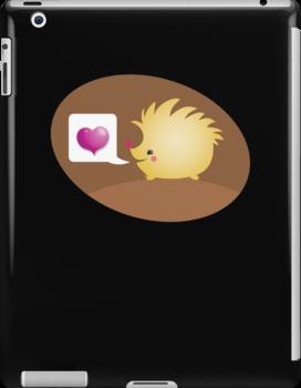 Cute little hedgehog saying LOVE by jazzydevil