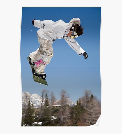 Snowboard jumping on Vogel mountain, Slovenia Poster