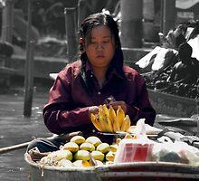 Woman at Floating Market by Gene  Tewksbury