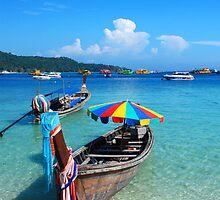 Thai Longtail Boat by Gene  Tewksbury