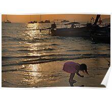 Curious Girl on Beach Poster