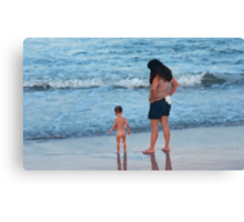 Mother and Child in Surf Canvas Print