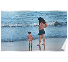 Mother and Child in Surf Poster