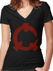 Reflex - Red Logo Women's Fitted V-Neck T-Shirt