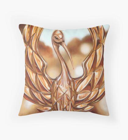 Golden Crane Throw Pillow