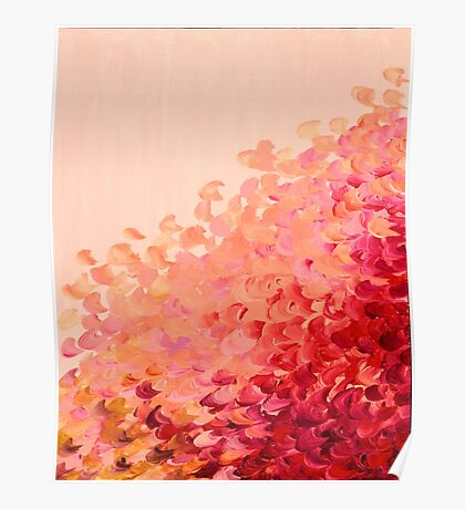 CREATION IN COLOR, CORAL PINK Pretty Girly Ombre Ocean Waves Sea Colorful Splash Abstract Acrylic Painting Poster