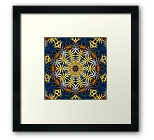 Blue and Yellow Fractal daisies Kaleidoscope 217 Framed Print