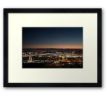 Canberra From Top Of Mount Ainslie At Night Framed Print