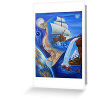 """Oil painting """"A Ship and a Map"""" 1998 Greeting Card"""