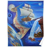 """Oil painting """"A Ship and a Map"""" 1998 Poster"""