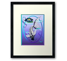 White Koi-Blue Lily Oval Framed Print