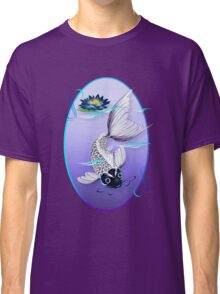 White Koi-Blue Lily Oval Classic T-Shirt