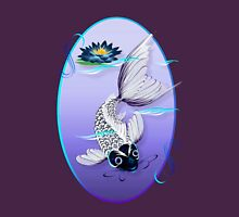 White Koi-Blue Lily Oval Womens Fitted T-Shirt