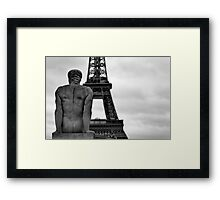 The Tower Behind in Black and White Framed Print