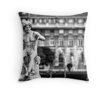 Statue in Jardin du Palais Royal in Black and White Throw Pillow