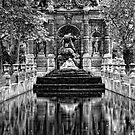 Medici Fountain in Luxembourg Garden in Black and White by randyharris