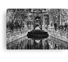 Medici Fountain in Luxembourg Garden in Black and White Canvas Print