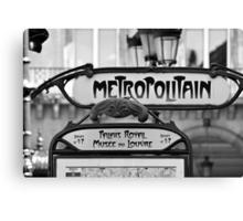 Paris Metro Sign in Black and White Canvas Print