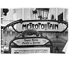 Paris Metro Sign in Black and White Poster