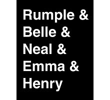 Rumple & Belle & Neal & Emma & Henry Photographic Print