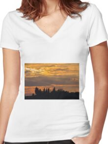sunset on the hilly Women's Fitted V-Neck T-Shirt