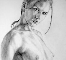 nude in pencil by Hidemi Tada