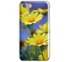 Yellow Daisies Blue iPhone Case/Skin