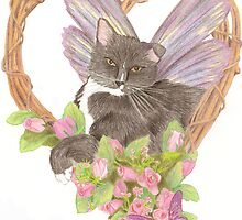 Winged Fairy Cat in Wreath by TaraFlyPhotos