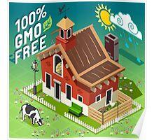 Isometric GMO Free Farming Poster