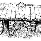 Restored Blackhouse, Scotland. by hyde66art