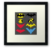 The Symbols of The Bat Family Framed Print