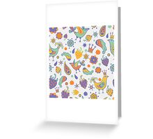 -  Seamless doodle birds pattern (white) - Greeting Card
