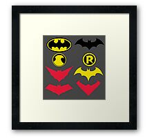 The Symbols of The Bat Family Variant Framed Print