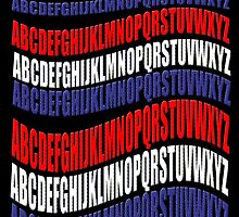 RED WHITE & BLUE alphabet-  by TeaseTees