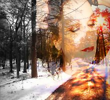 Road to the Sun (layered) Self Portrait by Julie Everhart
