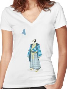 Samurai Serenity Women's Fitted V-Neck T-Shirt