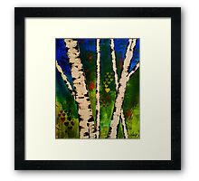Green Birch Trees painting Framed Print
