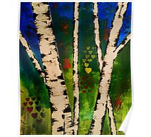 Green Birch Trees painting Poster