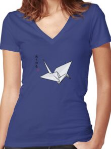 Paper Crane Color Women's Fitted V-Neck T-Shirt