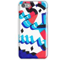 red and blue curves iPhone Case/Skin