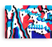 red and blue curves Canvas Print