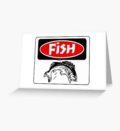 FISH BONES, FUNNY DANGER STYLE FAKE SAFETY SIGN Greeting Card