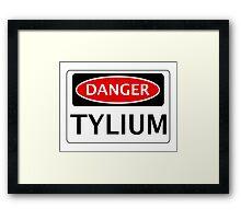 DANGER TYLIUM FAKE ELEMENT FUNNY SAFETY SIGN SIGNAGE Framed Print